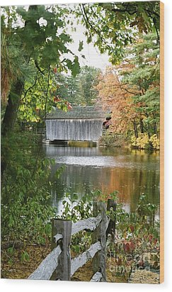 Covered Bridge Over The Lake Wood Print by Vinnie Oakes