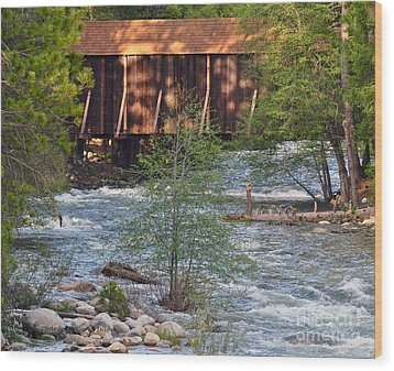 Wood Print featuring the photograph Covered Bridge Over The River by Debby Pueschel