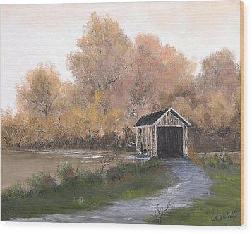 Covered Bridge Wood Print by Randall Brewer