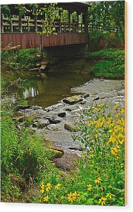 Covered Bridge Wood Print by Frozen in Time Fine Art Photography