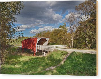 Covered Bridge Wood Print by Sennie Pierson