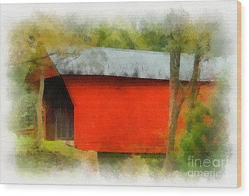 Covered Bridge - Sinking Creek Wood Print