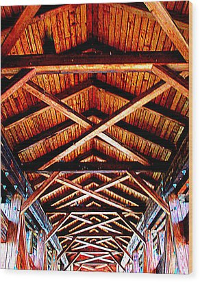 Covered Bridge Structure Wood Print