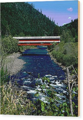 Covered Bridge The Office Bridge Wood Print by Charles Shoup