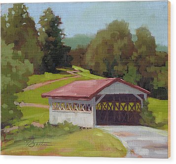 Covered Bridge Wood Print by Todd Baxter