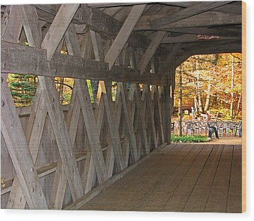 Covered Bridge Wood Print by Victoria Sheldon