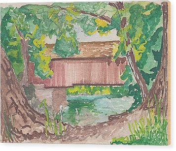 Covered Bridge Watercolor Wood Print by Fred Jinkins
