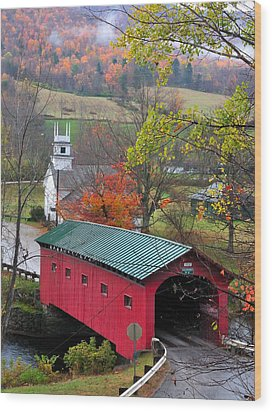 Covered Bridge-west Arlington Vermont Wood Print by Thomas Schoeller