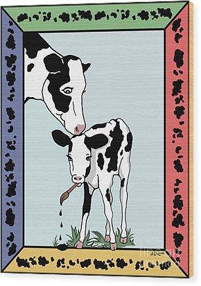 Cow Artist Cow Art Wood Print by Audra D Lemke