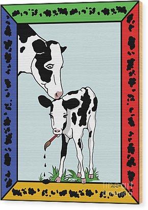 Cow Artist Cow Art II Wood Print by Audra D Lemke