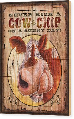 Cow Chip Wood Print by JQ Licensing