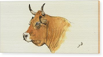 Cow Head Study Wood Print by Juan  Bosco