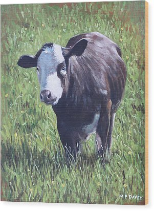 Cow In Grass Wood Print by Martin Davey