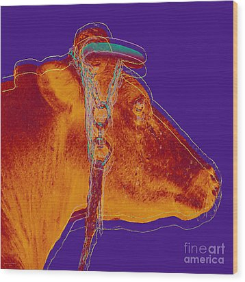 Cow Pop Art Wood Print