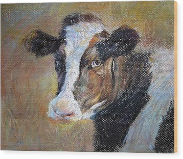 Wood Print featuring the painting cow by Jieming Wang