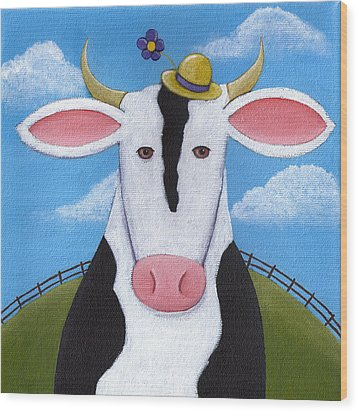 Cow Nursery Wall Art Wood Print by Christy Beckwith