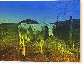 Wood Print featuring the digital art Cow On Lsd by Cathy Anderson