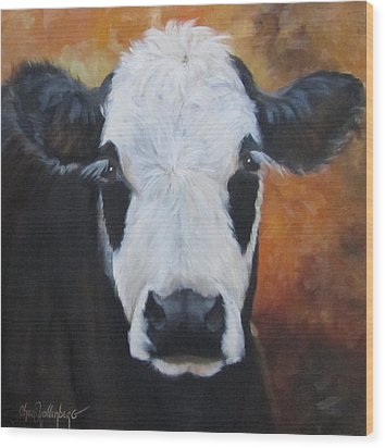 Wood Print featuring the painting Cow Painting - Tess by Cheri Wollenberg