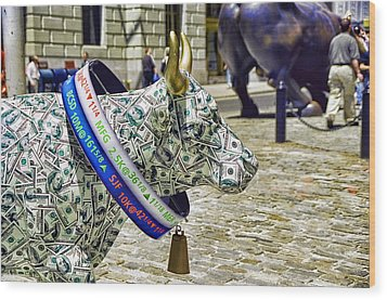 Cow Parade N Y C  2000 - Live Stock Cow Wood Print