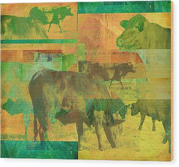 Cow Pasture Collage Wood Print by Ann Powell