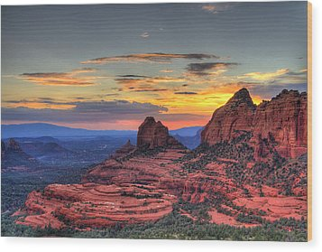 Cow Pies Sunset Wood Print