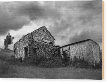 Cow Shed Wood Print by Stewart Scott