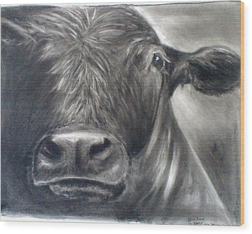Wood Print featuring the drawing Cow View by J L Zarek