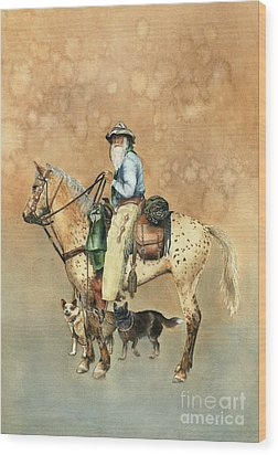 Cowboy And Appaloosa Wood Print