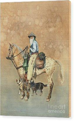 Cowboy And Appaloosa Wood Print by Nan Wright