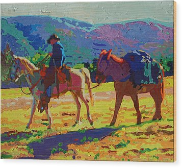 Cowboy And Pack Mule 2 Wood Print