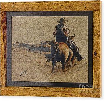 Cowboy Art By L. Sanchez Wood Print by Al Bourassa