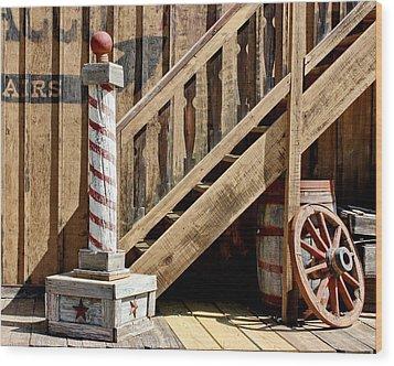 Cowboy Barbershop Wood Print