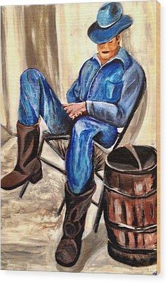 Cowboy Blue Wood Print by Melanie Wadman