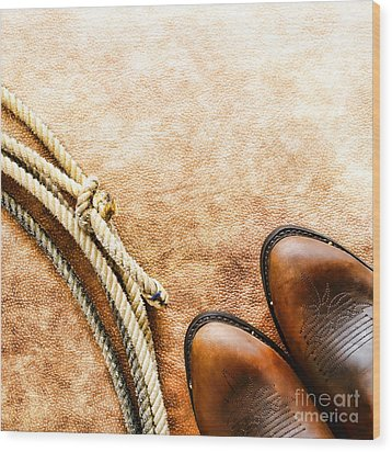 Cowboy Boots And Lasso Wood Print by Olivier Le Queinec