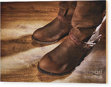 Cowboy Boots On Saloon Floor Wood Print by Olivier Le Queinec
