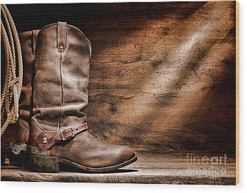 Cowboy Boots On Wood Floor Wood Print by Olivier Le Queinec