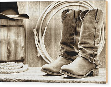 Cowboy Boots Outside Saloon Wood Print by Olivier Le Queinec