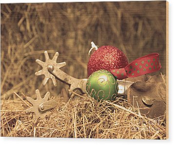 Cowboy Christmas Wood Print