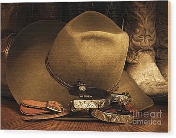 Wood Print featuring the photograph Cowboy Gear by Lincoln Rogers