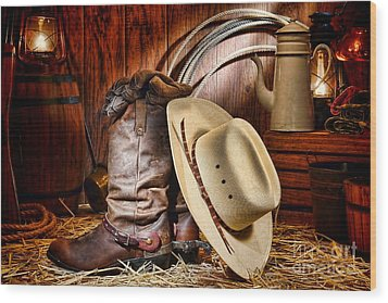 Cowboy Gear Wood Print by Olivier Le Queinec