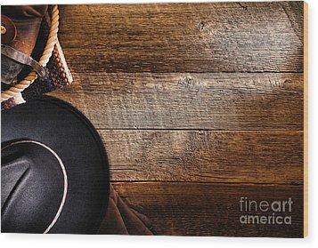 Cowboy Gear On Wood Wood Print by Olivier Le Queinec