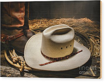 Cowboy Hat On Lasso Wood Print by Olivier Le Queinec