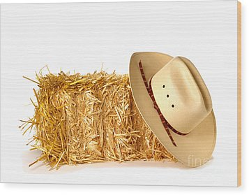 Cowboy Hat On Straw Bale Wood Print by Olivier Le Queinec