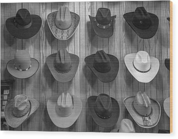 Cowboy Hats On Wall In Nashville  Wood Print
