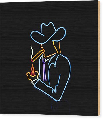 Cowboy In Neon Wood Print by Art Block Collections