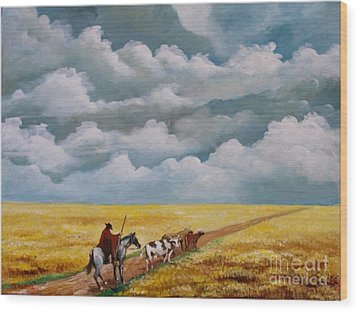Cowboy In The Pampa Wood Print