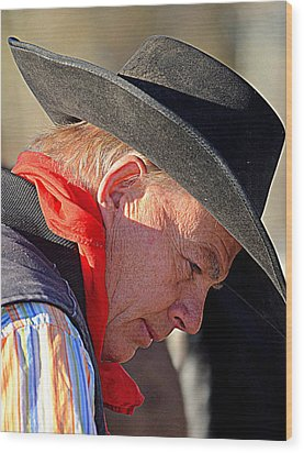 Cowboy In Thought Wood Print