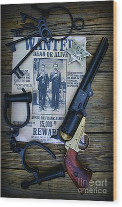 Cowboy - Law And Order Wood Print by Paul Ward
