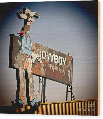 Cowboy Wood Print by Lawrence Burry