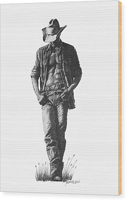 Cowboy Wood Print by Marianne NANA Betts